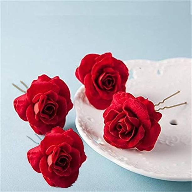 Kidzoo Elegant Red Rose Bridal Hair Pins Hair Clips 4 piece Hair Pins Wedding Women and Girls Hair Accessories Bridesmaids Headpiece Wedding Hairpin (Red Rose Hair Pins) Hair Pin