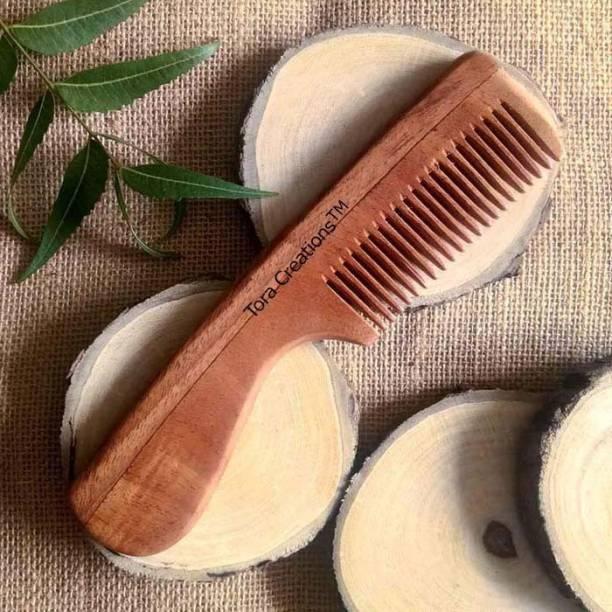 Tora Creations Neem Wood Medium Tooth Comb with Handle