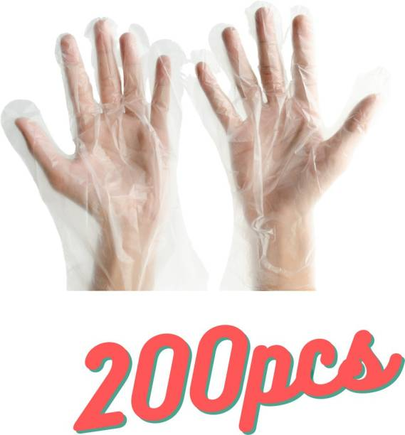 BADLAV Transparent Hand Gloves_200 Examination Gloves for kitchen , Regular Use,Light Weight, PP Gloves Polyisoprene Examination Gloves Polyisoprene Examination Gloves