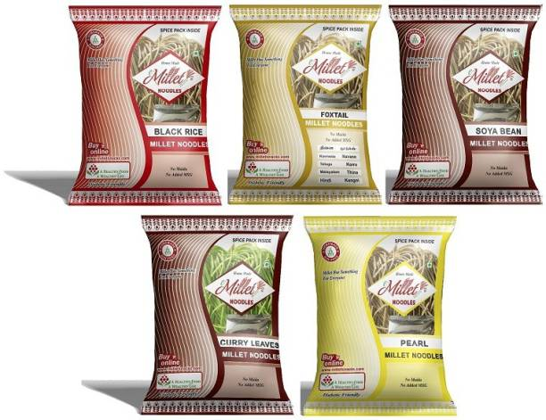 e-Millet Black rice, Curry leaves, Foxtail, Pearl and Soya Noodles pack of 190g x 5 nos Hakka Noodles Vegetarian