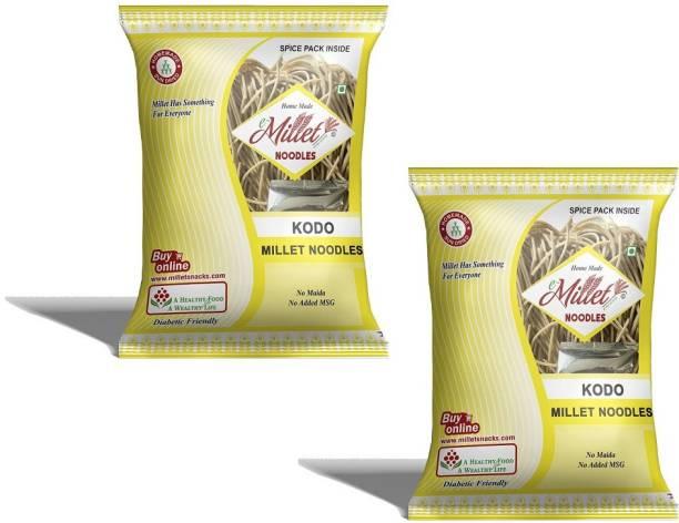 e-Millet Kodo Millet Noodles with Masala pack of 190g x 2 nos Hakka Noodles Vegetarian
