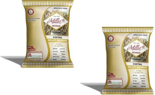 e-Millet Foxtail Millet Noodles with Masala pack of 190g x 2 nos Hakka Noodles Vegetarian