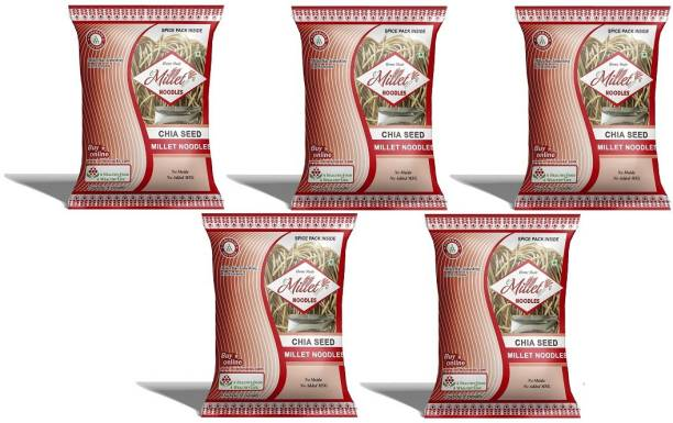 e-Millet Chia Seed Noodles with Masala pack of 190g x 5 nos Hakka Noodles Vegetarian