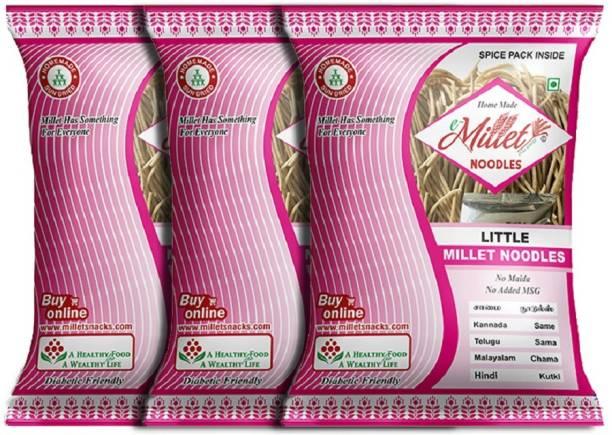e-Millet Little Millet Noodles with Masala pack of 190g x 3 nos Hakka Noodles Vegetarian