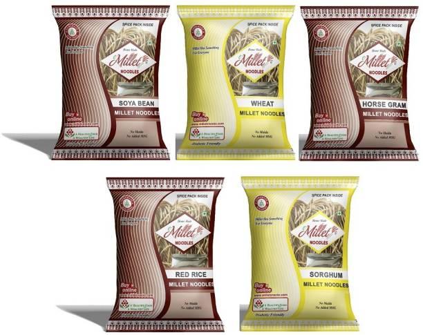 e-Millet Soya, Sorghum, Horsegram, Red rice and wheat Noodles pack of 190g x 5 nos Hakka Noodles Vegetarian
