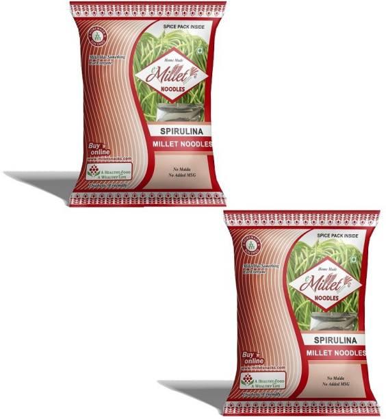 e-Millet Spirulina Noodles with Masala pack of 190g x 2 nos Hakka Noodles Vegetarian
