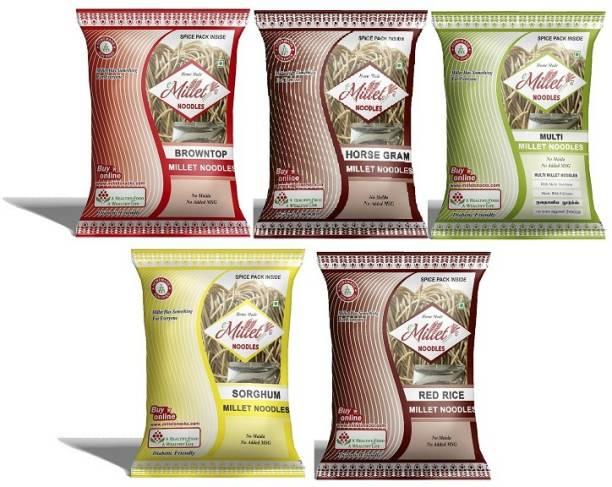 e-Millet Browntop Rice, Horsegram, MultiMillet, Sorghum and Red rice Noodles pack of 190g x 5 nos Hakka Noodles Vegetarian