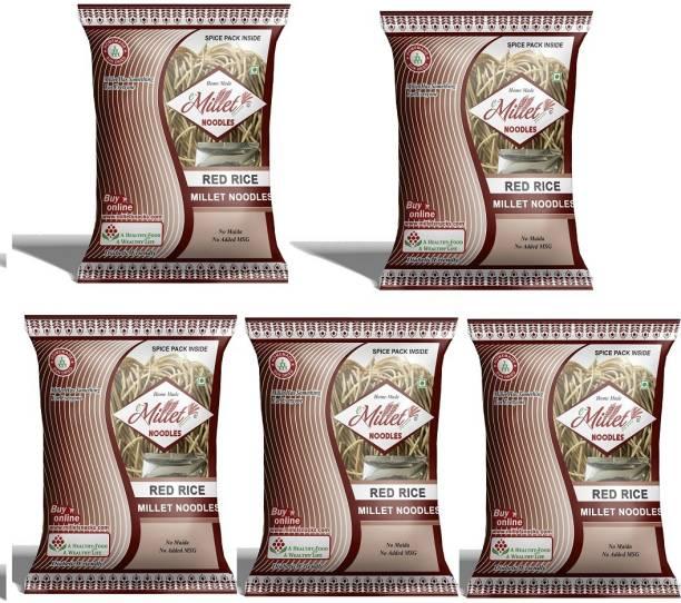 e-Millet Red Rice Noodles with Masala pack of 190g x 5 nos Instant Noodles Vegetarian