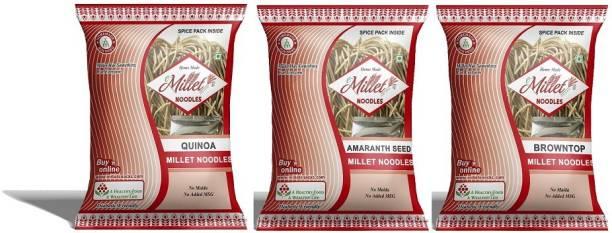 e-Millet Quinoa, Browntop and Amaranth seed Noodles pack of 190g x 3 nos Hakka Noodles Vegetarian