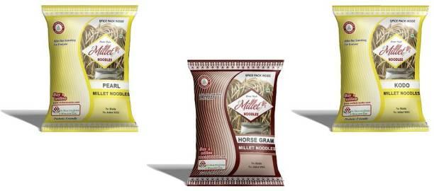 e-Millet Pearl, Kodo and Horsegram Noodles pack of 190g x 3 nos Hakka Noodles Vegetarian