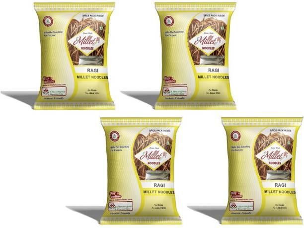 e-Millet Ragi Millet Noodles with Masala pack of 190g x 4 nos Hakka Noodles Vegetarian