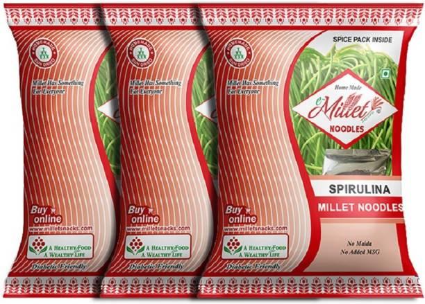 e-Millet Spirulina Noodles with Masala pack of 190g x 3 nos Hakka Noodles Vegetarian