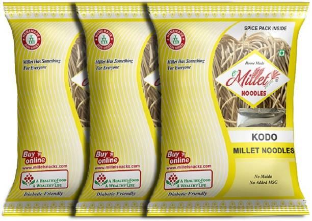 e-Millet Kodo Millet Noodles with Masala pack of 190g x 3 nos Hakka Noodles Vegetarian