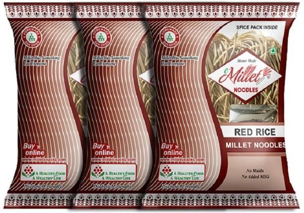 e-Millet Red Rice Noodles with Masala pack of 190g x 3 nos Instant Noodles Vegetarian