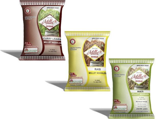e-Millet Curry leaves, Finger and Multimillet Noodles pack of 190g x 3 nos Hakka Noodles Vegetarian