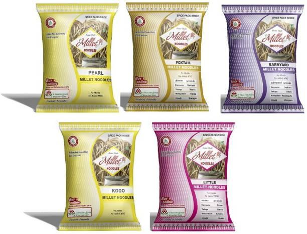 e-Millet Pearl, Kodo, Foxtail, Little and Barnyard Millet Noodles pack of 190g x 5 nos Hakka Noodles Vegetarian