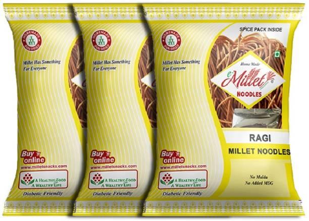 e-Millet Ragi Millet Noodles with Masala pack of 190g x 3 nos Hakka Noodles Vegetarian