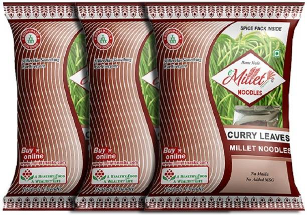 e-Millet Curry Leaves Noodles with Masala pack of 190g x 3 nos Instant Noodles Vegetarian