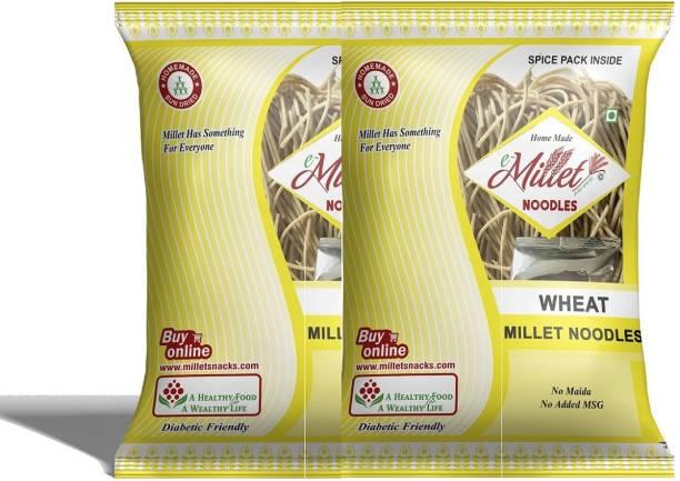e-Millet Wheat Noodle with Masala pack of 190g x 2 nos Hakka Noodles Vegetarian