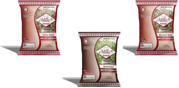 e-Millet Chia seed, Moringa and Black rice Noodles pack of 190g x 3 nos Hakka Noodles Vegetarian