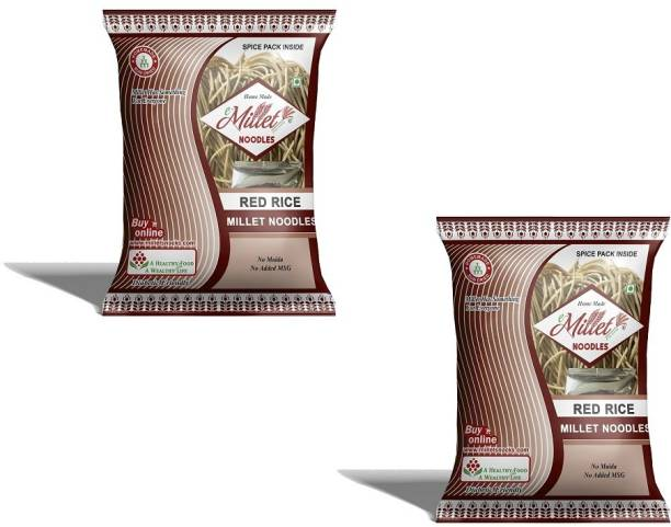 e-Millet Red Rice Noodles with Masala pack of 190g x 2 nos Instant Noodles Vegetarian