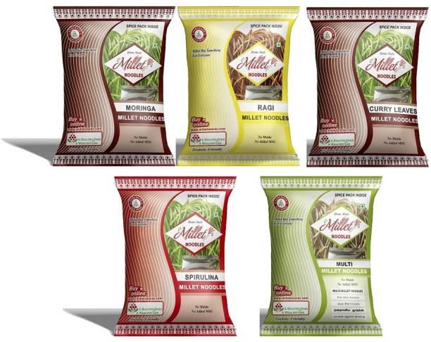 e-Millet Moringa, Spirulina, Curry leaves, Finger and Multimillet Noodles pack of 190g x 5 nos Hakka Noodles Vegetarian
