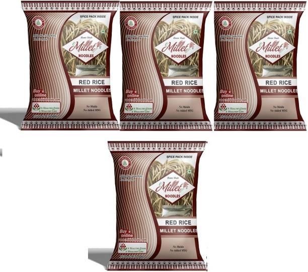 e-Millet Red Rice Noodles with Masala pack of 190g x 4 nos Instant Noodles Vegetarian