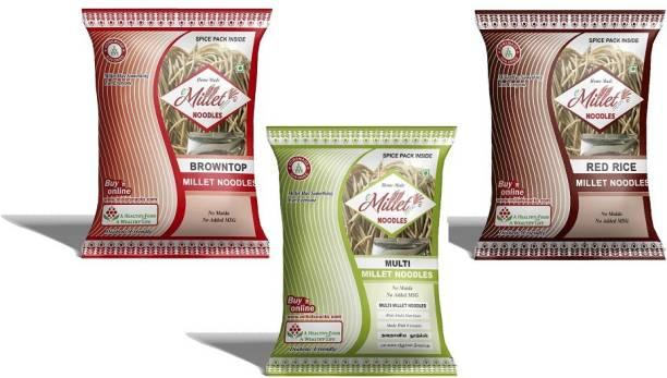 e-Millet Browntop Rice, MultiMillet and Red rice Noodles pack of 190g x 3 nos Hakka Noodles Vegetarian
