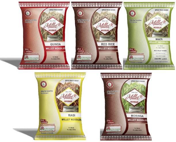 e-Millet Quinoa, Red rice, Finger, MultiMillet and Moringa Noodles pack of 190g x 5 nos Hakka Noodles Vegetarian