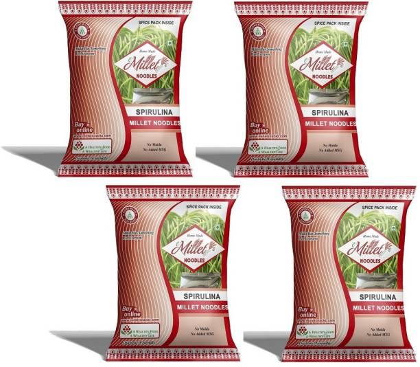 e-Millet Spirulina Noodles with Masala pack of 190g x 4 nos Hakka Noodles Vegetarian