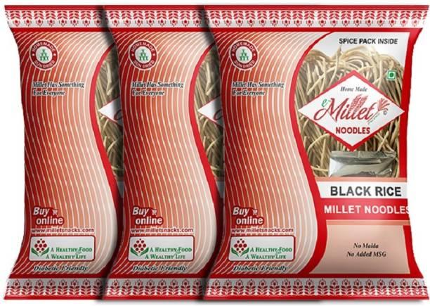 e-Millet Black Rice Noodles with Masala pack of 190g x 3 nos Instant Noodles Vegetarian