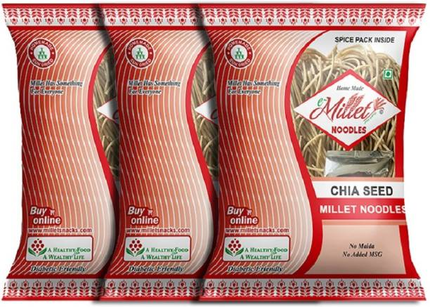e-Millet Chia Seed Noodles with Masala pack of 190g x 3 nos Instant Noodles Vegetarian