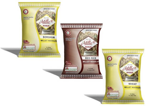 e-Millet Sorghum, Red rice and wheat Noodles pack of 190g x 3 nos Hakka Noodles Vegetarian