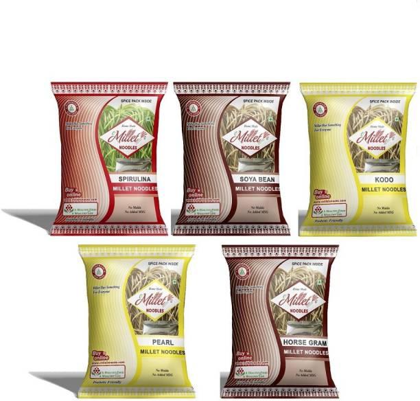 e-Millet Spirulina, Soya, Pearl, Kodo and Horsegram Noodles pack of 190g x 5 nos Hakka Noodles Vegetarian