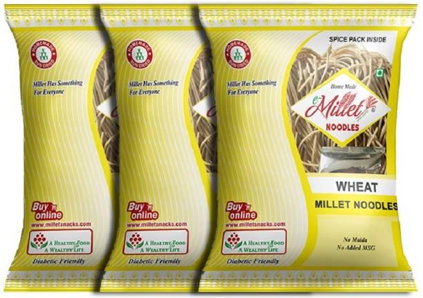 e-Millet Wheat Noodle with Masala pack of 190g x 3 nos Hakka Noodles Vegetarian