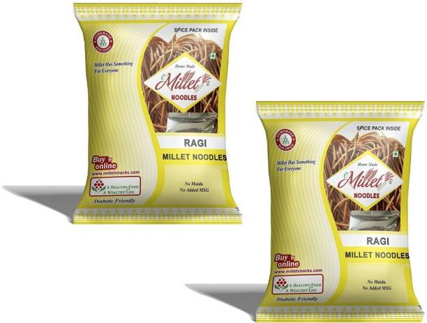 e-Millet Ragi Millet Noodles with Masala pack of 190g x 2 nos Hakka Noodles Vegetarian