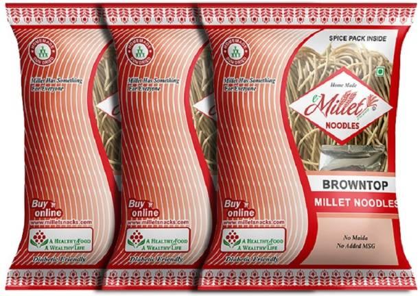 e-Millet Browntop Rice Noodles with Masala pack of 190g x 3 nos Instant Noodles Vegetarian