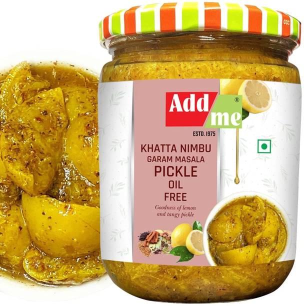 ADD ME Lemon Lime Pickle Without Oil 500G Glass Pack khatta Nimbu Ka achar Garam Masala Glass Pack Lemon Pickle