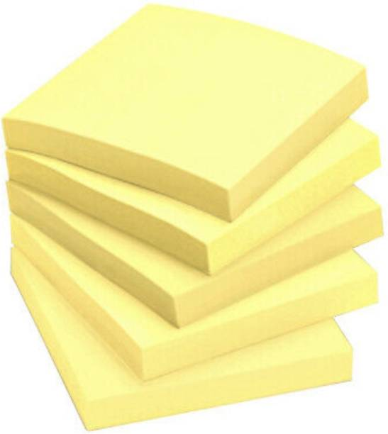 officekart Cream Yellow Colour (Pack of 5, 500 Sticky Notes) 100 Sheets REGULAR STICKY NOTES 3' X 3', 1 Colors