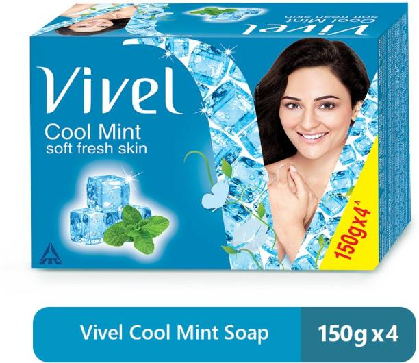 Vivel Cool Mint Bathing�Soap�with Menthol for Soft, Refreshing skin | Cooling Fragrance | Combo Pack 150g