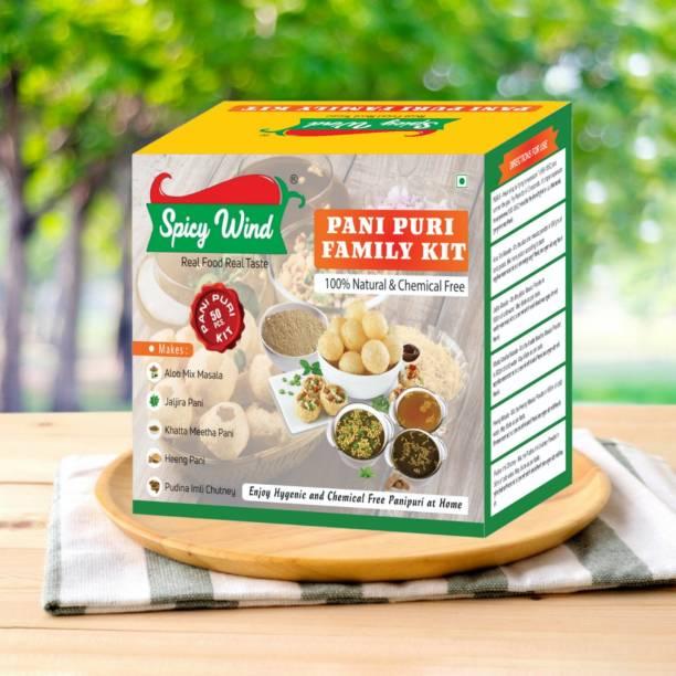 spicy wind Instant Ready To Mix Pani Puri ( Gol Gappa ) Easy To Make Tasty Pani Puri At Home With Hygiene. 310 gm x 1 = 310 gm Jaljira pani / Khatta Meetha pani / Heeng pani / Aloo Mix Masala / Pudina Imli Chutney Powder.