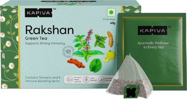 Kapiva Rakshan Green Tea | Supports Strong Immunity | Infused with Turmeric, Amla and Others | 20 Tea Bags Green Tea Box