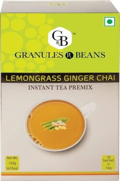 Granules and Beans Lemongrass Ginger Tea Instant Premix   Lemongrass Adrak Chai Instant Pemix   10 Sachets of 14gms Each Instant Chai for Immunity & Freshness Lemon Grass, Ginger Instant Tea Box