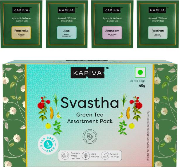 Kapiva Svastha Green Tea - Rakshan, Akrti, Anandam & Paachaka   Promotes Overall Well-Being  5 Tea Bags for Each Tea Green Tea Box