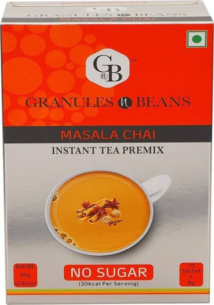 Granules and Beans Unsweetened Masala Tea Instant Premix   Masala Chai with No Sugar   10 Sachets of 8 gms Each, Instant Chai with 100% Natural Spices & Extracts Spices, Cloves, Cardamom, Cinnamon, Ginger, Black Pepper Instant Tea Box