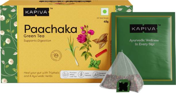 Kapiva Paachaka Green Tea | Supports Digestion | Enriched with Triphala, Bay Leaf and Others | 20 Tea Bags Green Tea Box
