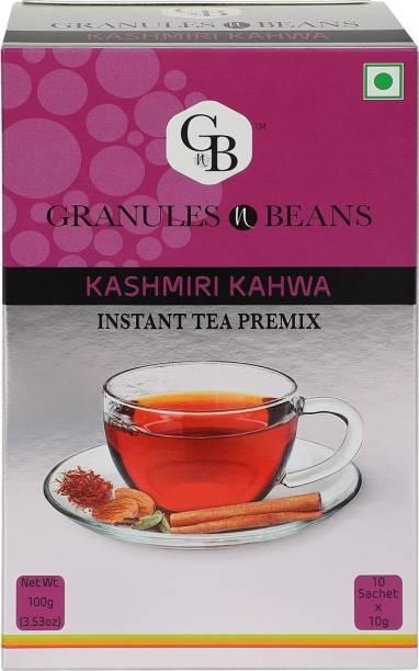 Granules and Beans Kashmiri Kahwa Instant Premix   Saffron & Cardamom Kahwa Instant Premix   10 Sachets of 10gms Each Kashmiri Chai for Immunity & Freshness Saffron, Spices Instant Tea Box