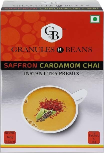 Granules and Beans Saffron Cardamom Tea Instant Premix   Kesar Elaichi Chai Premix for Immunity & Freshness   10 Sachtes of 14gms Each instant Chai Saffron, Cardamom Instant Tea Box