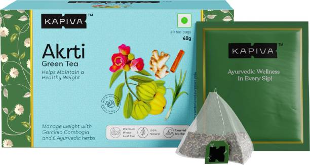 Kapiva Akrti Green Tea | Helps Maintain a Healthy Weight | Enriched with Garcinia Cambogia, Lemongrass and Others | 20 Tea Bags Green Tea Box