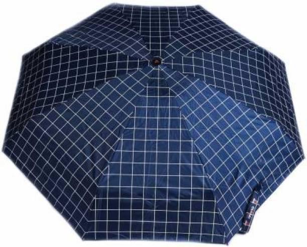 KEKEMI UMB017_05 3 Fold Check Windproof Travel Umbrella
